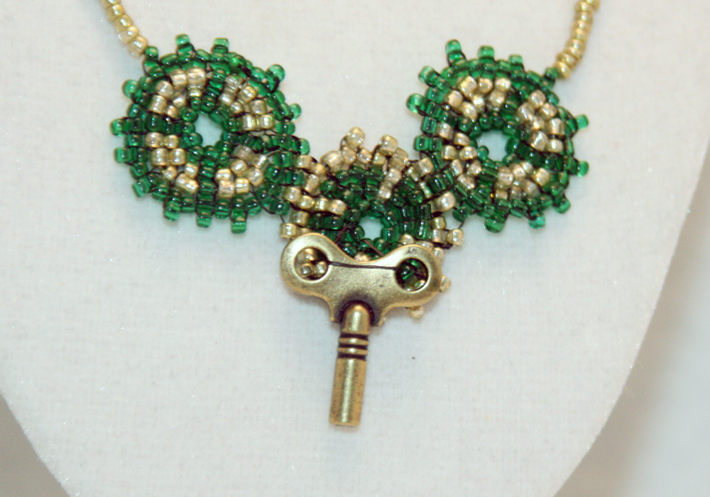 Steampunk Necklace of Beaded Gears and a Windup Key