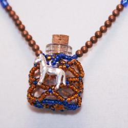 Horse Necklace Beaded Bottle Blue and Brown