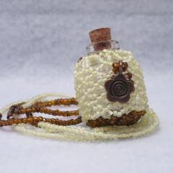 Beaded Fairy Bottle Necklace Yellow and Brown with Copper Flower