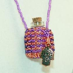 Necklace Beaded Fairy Bottle in Purple and Orange with Hamsa Hand